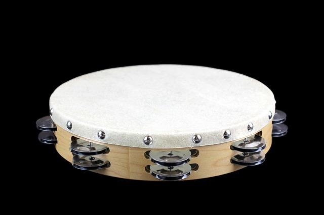 TAMBURIN Tambourin Holz Schellentrommel  Musikinstrument Schellenring Blume neu Holzspielzeug